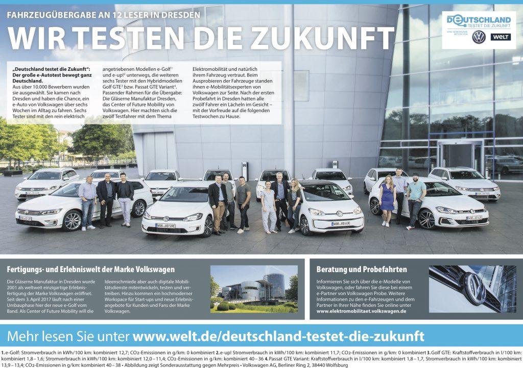 Übergabe der Testautos in de Gläsernen Manufaktur in Dresden