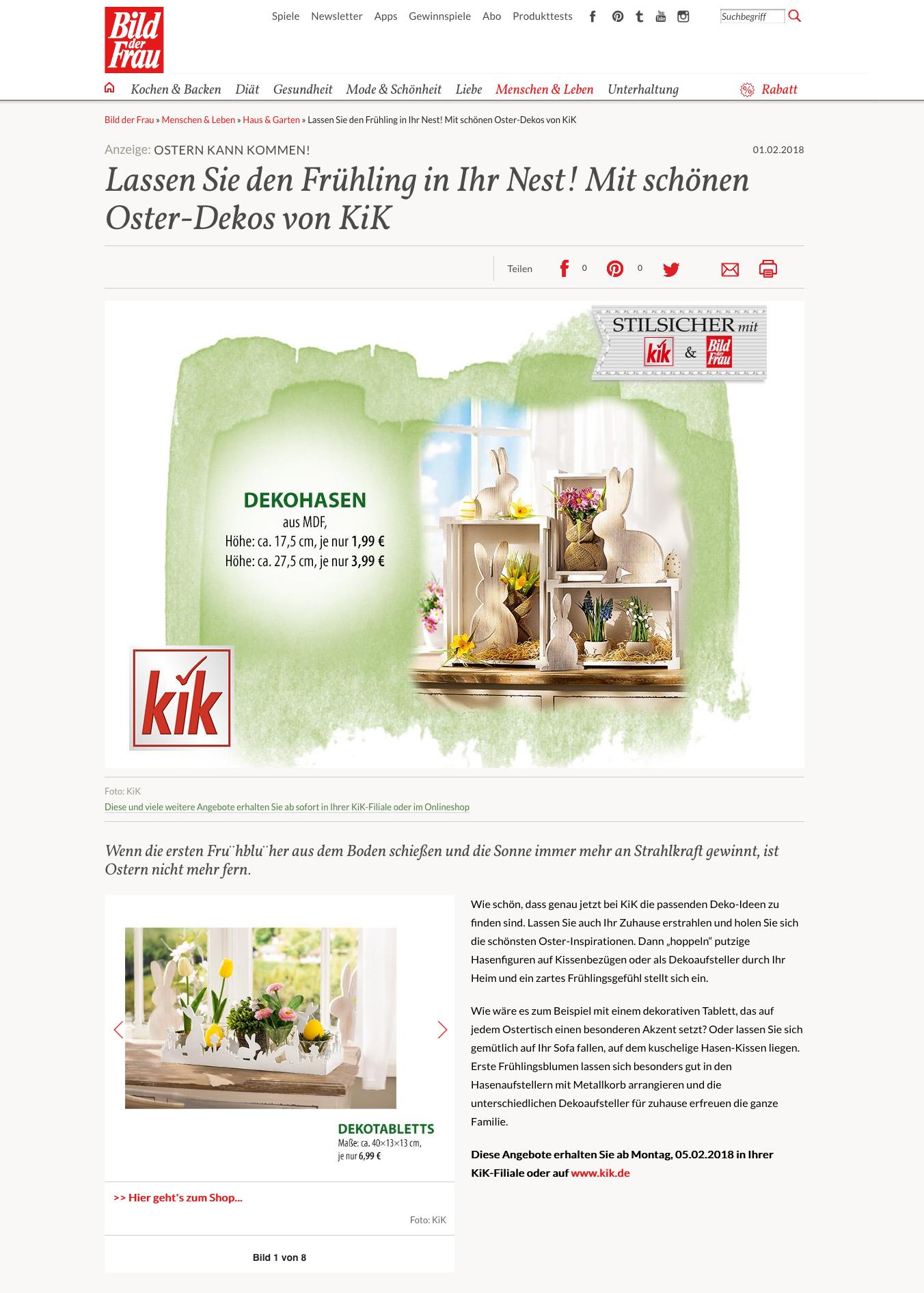 KiK Online-Advertorial auf bildderfrau.de