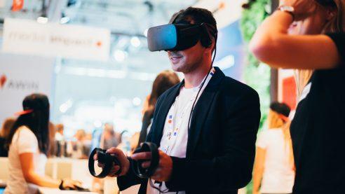 Die VR-Aktion am Stand gewährte Einblicke in den Neubau von Axel Springer